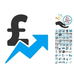 Pound Sales Growth Icon With 2017 Year Bonus vector