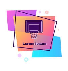 Purple basketball backboard icon isolated on white vector