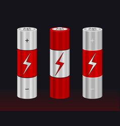 realistic aa type battery set vector image