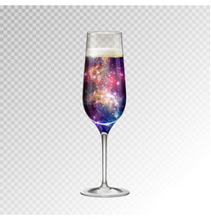 Realistic of champagne glass with space vector