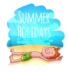 Red-haired boy sunbathes on a beach Summer vector