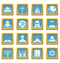 religious symbol icons azure vector image