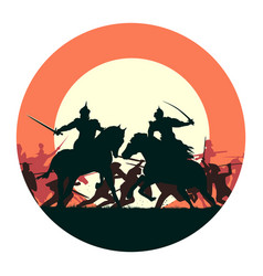 round medieval battle with fight two vector image