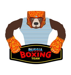 Russian Bear Boxer patriot Boxing gloves and vector image