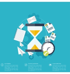 Sand clock flat icon World time concept Business vector
