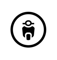 Scooter icon and circle outline motorcycle logo vector