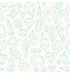 Seamless pattern made of line art crystals vector