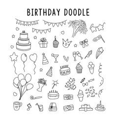 set element doodle decoration birthday vector image