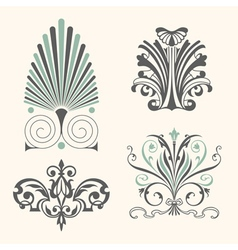 Set of antique decorative elements vector