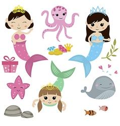 Set of cute girl mermaids vector