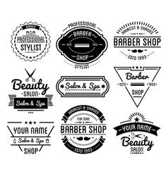 Set of vintage barber shop logo and beauty spa vector