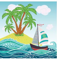 ship sun tropical sea island with palm trees vector image