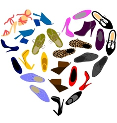 shoes in shape heart vector image