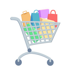 Shopping trolley with goods flat icon vector