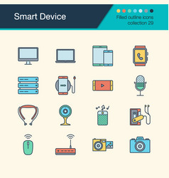 smart device icons filled outline design vector image