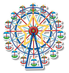 sticker template with circus ferris wheel vector image