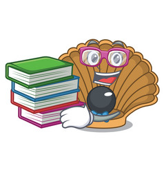 Student with book shell with pearl mascot cartoon vector