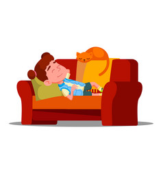 tired little girl sleeping on the couch next to vector image
