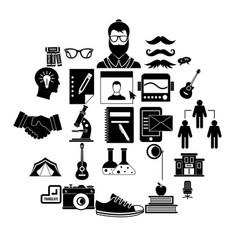 undergraduate icons set simple style vector image