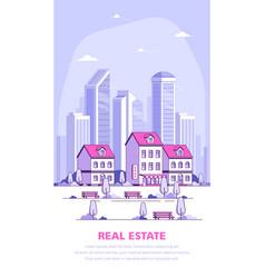urban landscape flat style banner vector image