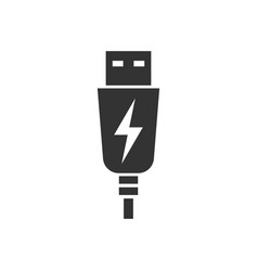 Usb cable icon in flat style electric charger on vector
