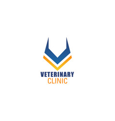 v letter icon for veterinary clinic vector image