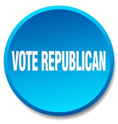 vote republican blue round flat isolated push vector image