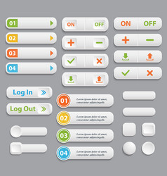web buttons collection realistic vector image