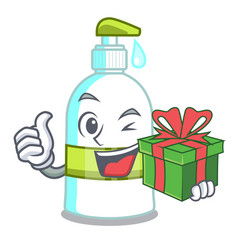 with gift liquid soap isolated with on mascot vector image