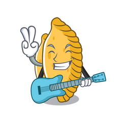 With guitar pastel mascot cartoon style vector