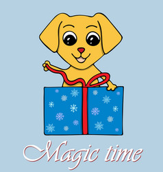 with the dog opening a new years vector image