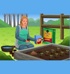 Woman planting herbs vector