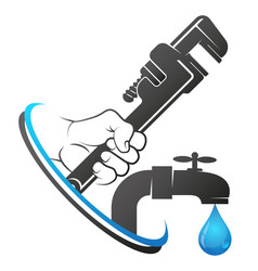 Wrench in hand repair and plumbing service vector