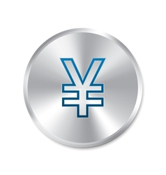Yen silver sign Isolated currency icon vector image