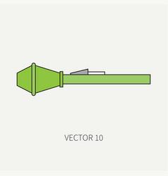 Line flat color military icon grenade vector