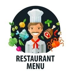 Menu restaurant logo design template chef vector