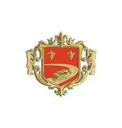 Steamboat Fleur De Lis Coat of Arms Retro vector image vector image