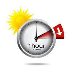 Clock switch to summer time daylight saving time vector image vector image