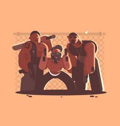 criminal gang of men vector image