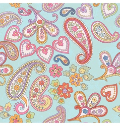 Hand drawn decorative seamless pattern with paisle vector image vector image