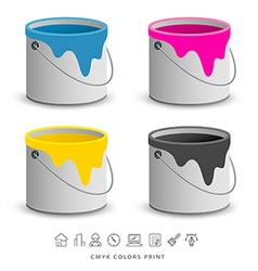 Paint colorful cans with business icons concept vector image vector image