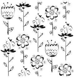 Seamless pattern with sketch flowers in black and vector image
