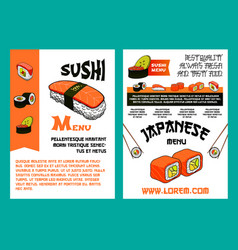 sushi menu for japanese cuisine restaurant design vector image vector image