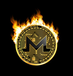 crypto currency bitcoin golden symbol on fire vector image vector image