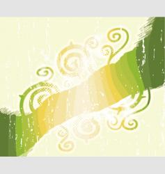 green stripes floral swirls background vector image vector image