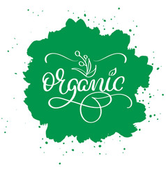 organic word on green abstract background hand vector image