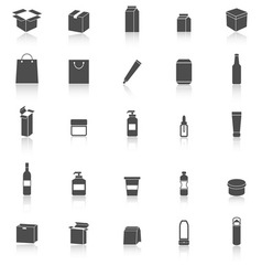 Packaging icons with reflect on white background vector image vector image