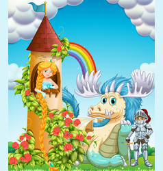 princess in tower with knight and dragon vector image