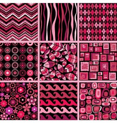 Set of stylish seamless patterns vector image vector image
