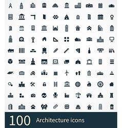 100 architecture icon vector image